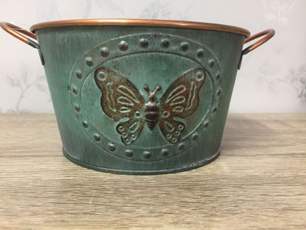 Vintage Butterfly Tin Planter 16 cm GREEN